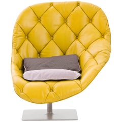 Moroso Bohemian 001 Revolving Armchair in Tufted Leather by Patricia Urquiola