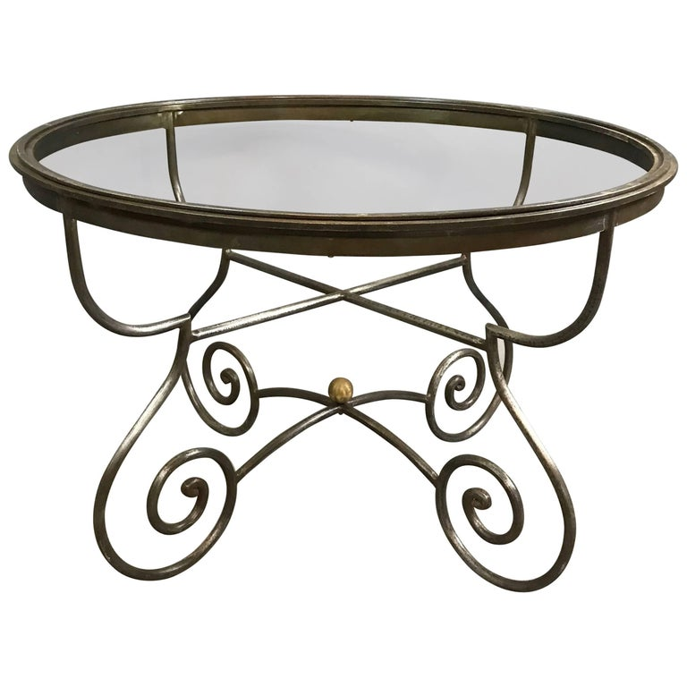 Hollywood Regency Round Scrolled Steel Dining Table Frame For Sale