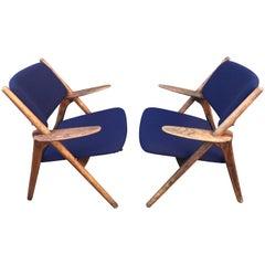 Vintage Sawbuck Lounge Chairs, circa 1960s