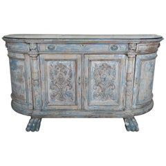 19th Century Italian Painted Credenza with Antique Mirrored Top