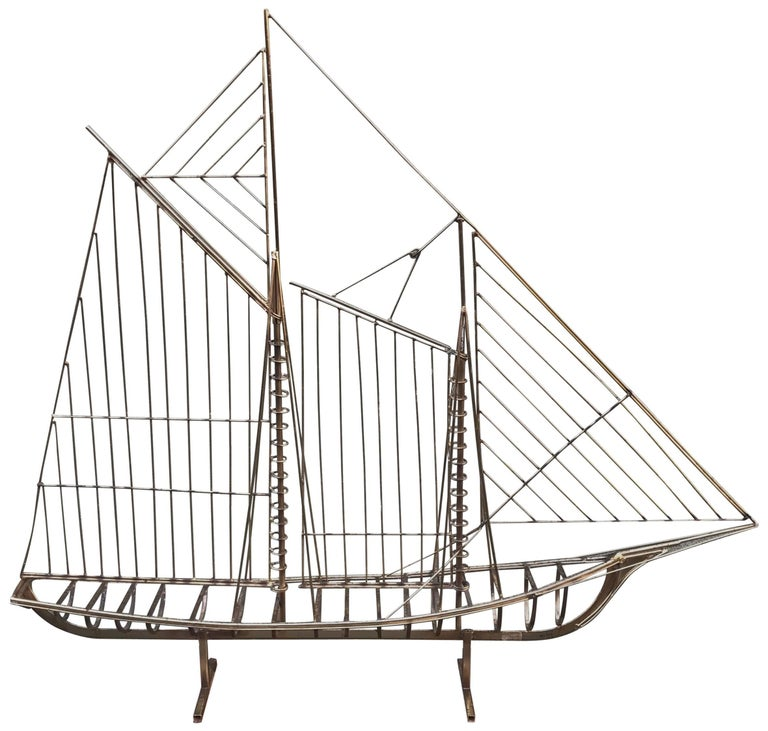 Vintage, 1970s Jere Sailboat Sculpture 1