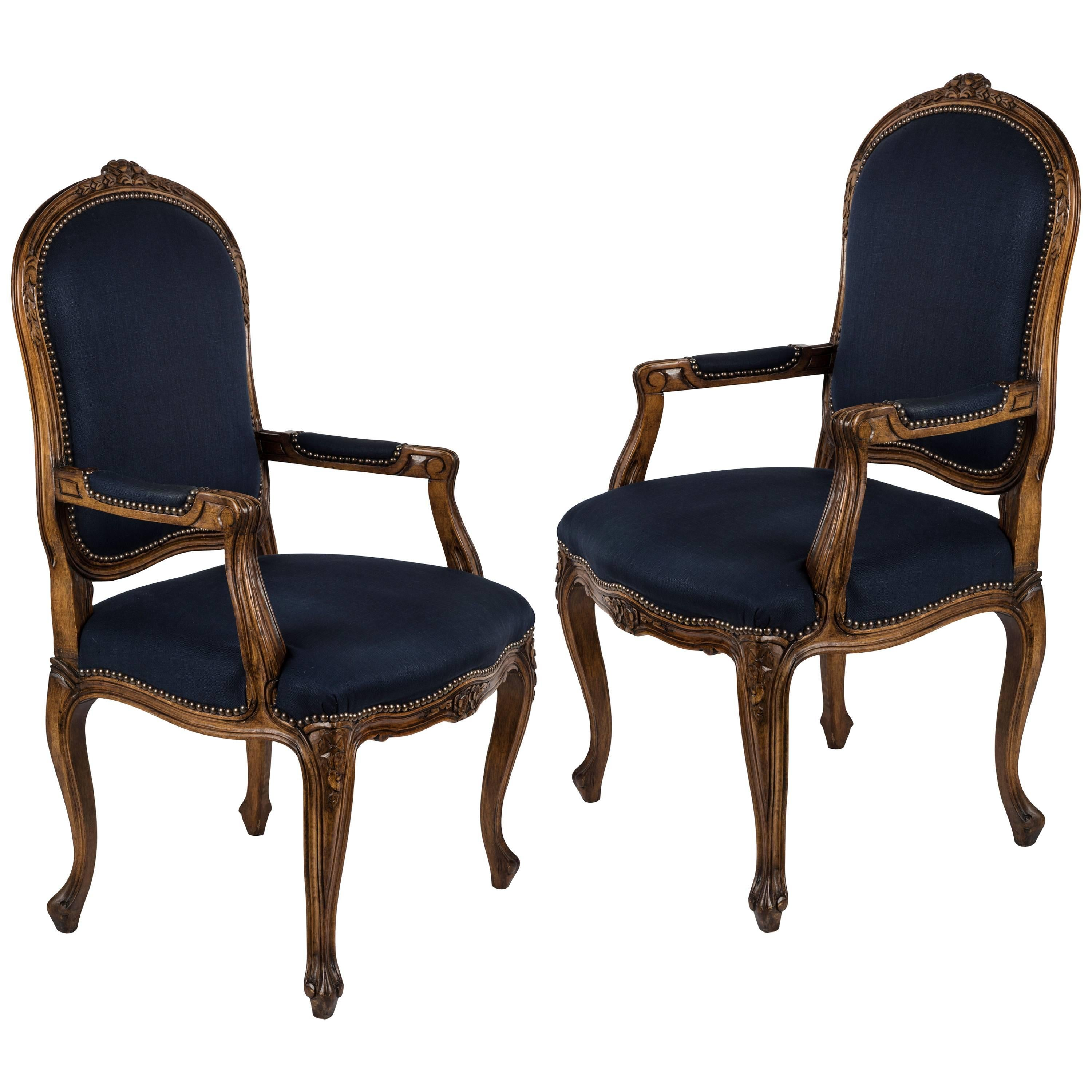 Pair of Louis XV Blue Fauteuil Armchairs