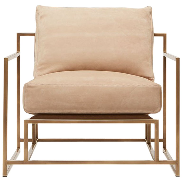 Taupe Nubuck and Antique Brass Armchair