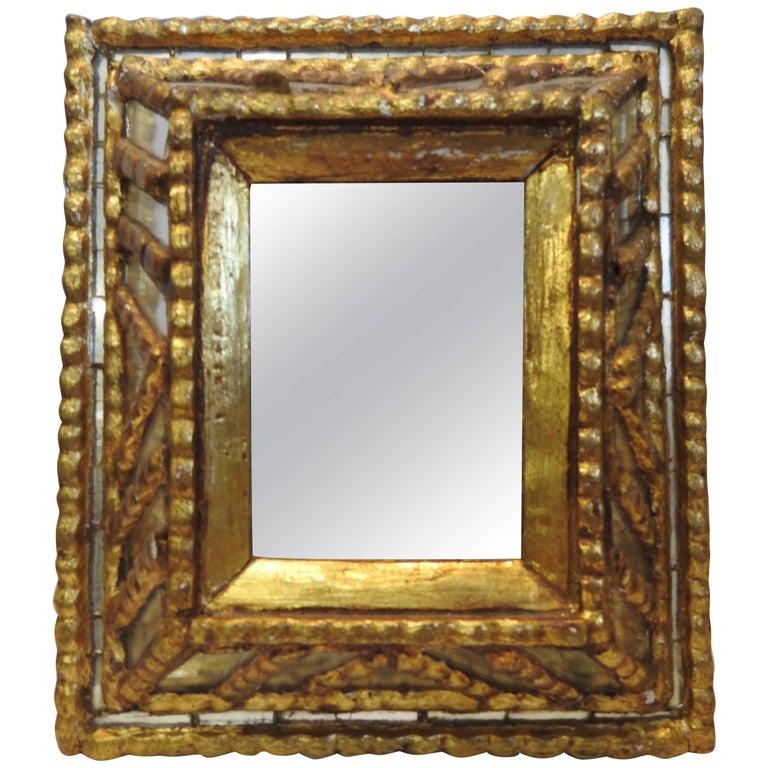 Small Midcentury Italian Mirror with Gilt