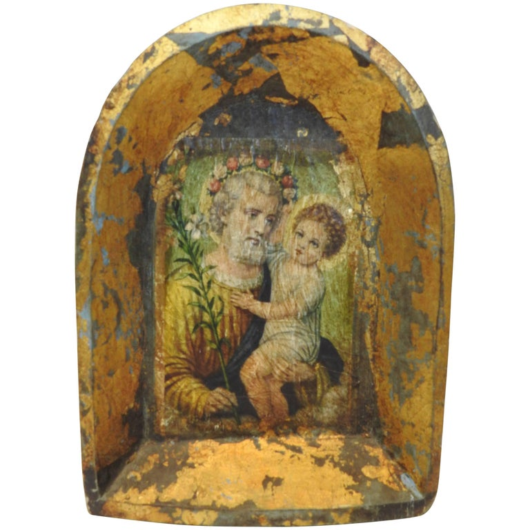 Hand-Carved Wooden Frame with Saint and Baby For Sale