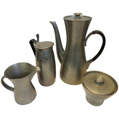Midcentury Royal Holland Four-Piece Pewter Tea Coffee Set