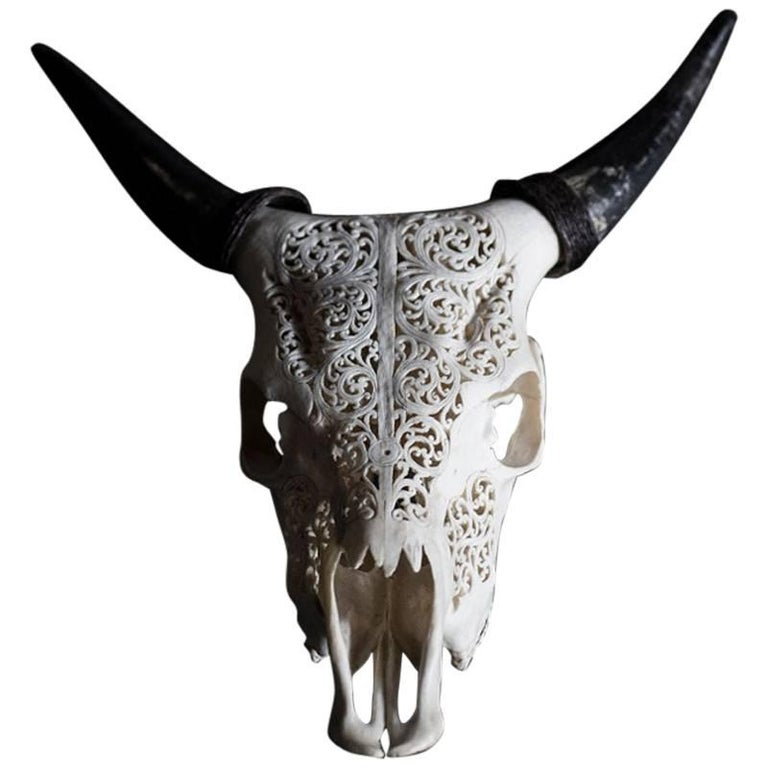 Carved deer skull object for sale at stdibs