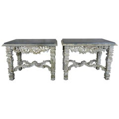 Italian Painted Consoles with Black Marble Tops, Pair