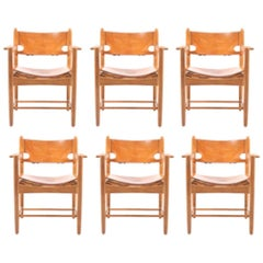 Set of Six Armchairs by Børge Mogensen