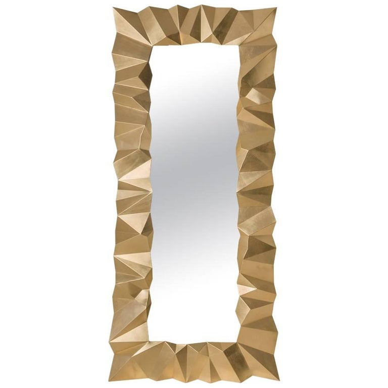 Asymmetric Mirror in Solid Mahogany in Gold Finish For Sale