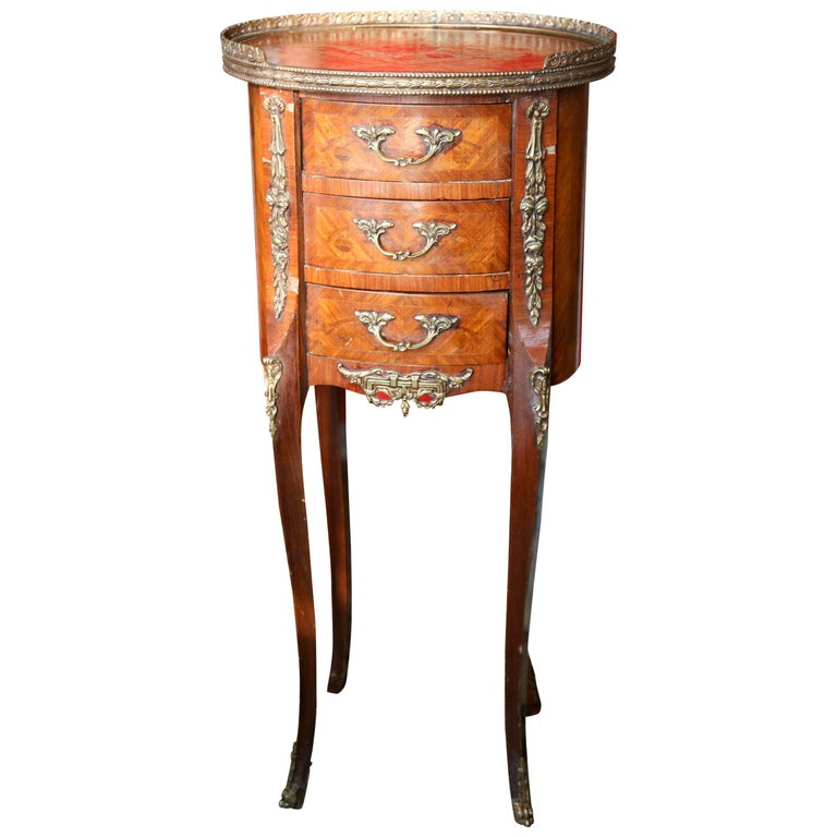 19th Century French Louis XV Style Marquetry Side Table