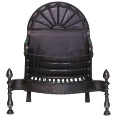 18th Century Georgian Black Cast Iron Fire Basket