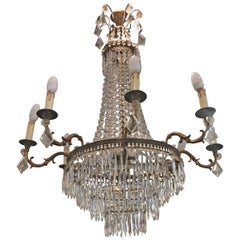 19th Century French Large Tent and Waterfall Crystal Chandelier, circa 1880