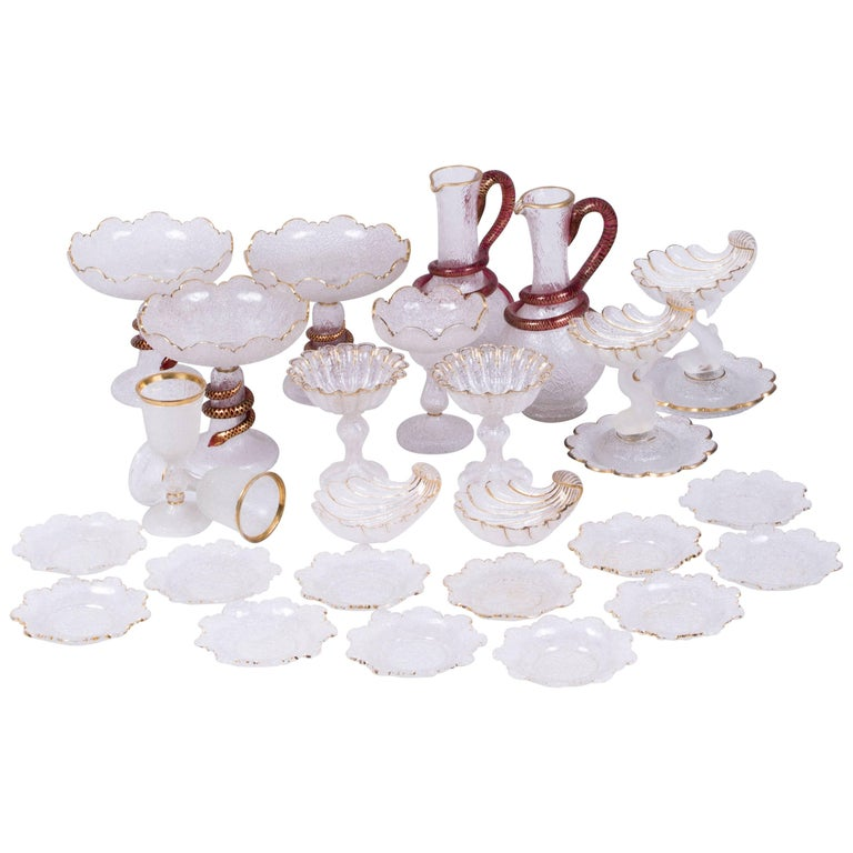 Antique Bohemian Frosted Glass Dessert Service