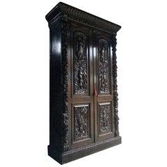 Antique Wardrobe Hall Cupboard Italian Oak Heavily Carved 19th Century