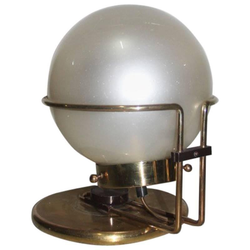 Italian Table Lamp Brass and Glass Valenti Design 1970