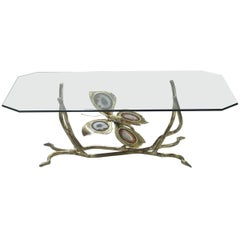 Henri Fernandez Signed Bronze and Agate Stones Coffee Table, 1970s