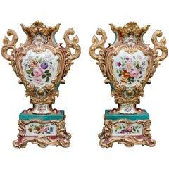 19th Century Rococo Pair of colorfull Vases, attributed to Jacob Petit in Paris