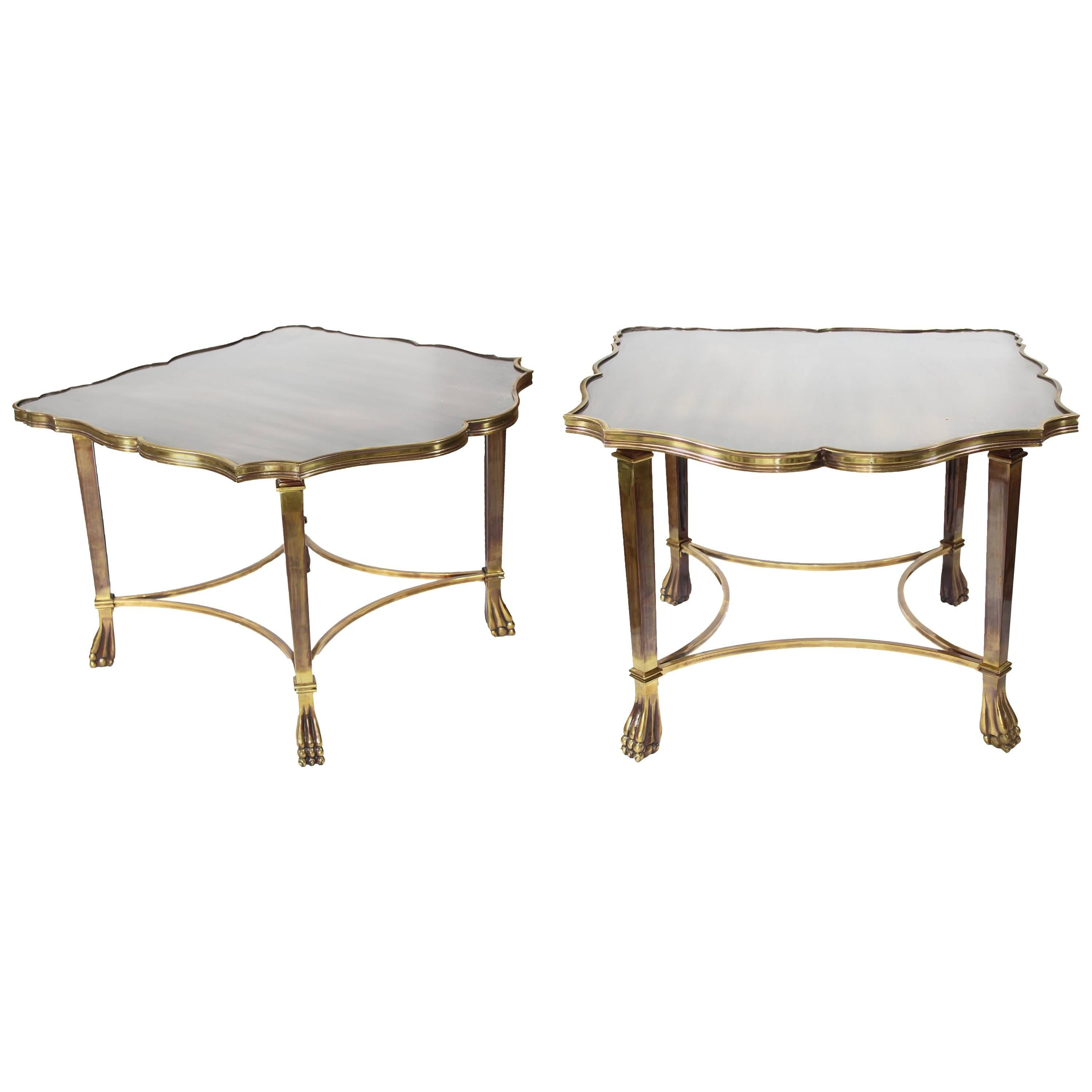 1990s Pair of Brass Side Tables