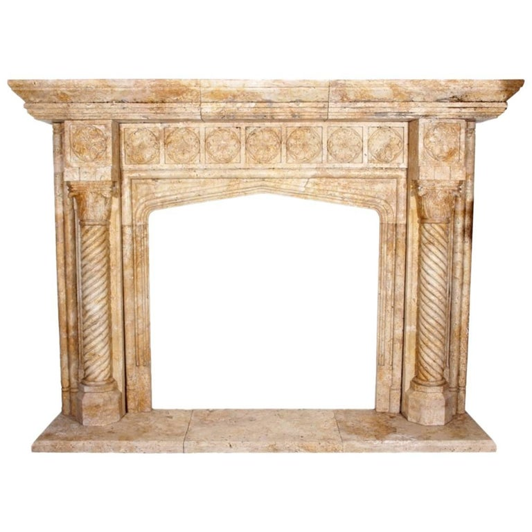 Tudor gothic revival style romano travertine stone for Tudor style fireplace