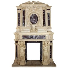 Monumental Neoclassical Two-Story Egyptian and Alicante Marble Fireplace Mantle