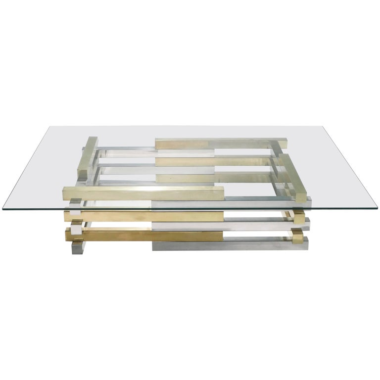 Rare Brass and Chrome Coffee Table by Pierre Cardin, 1970s