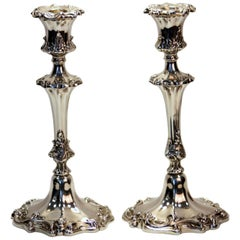 Victorian Filled Silver Candlesticks with Floral Engravings, Sheffield, 1840