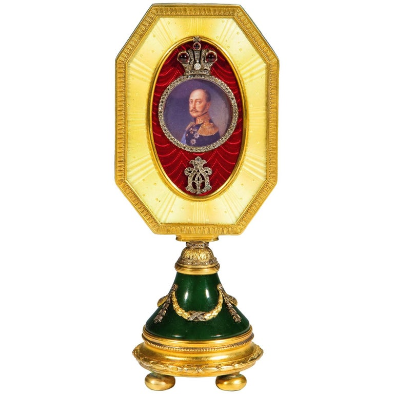 Faberge Style Guilloche Enamel, Gemstone and Silver Gilt Photograph Frame