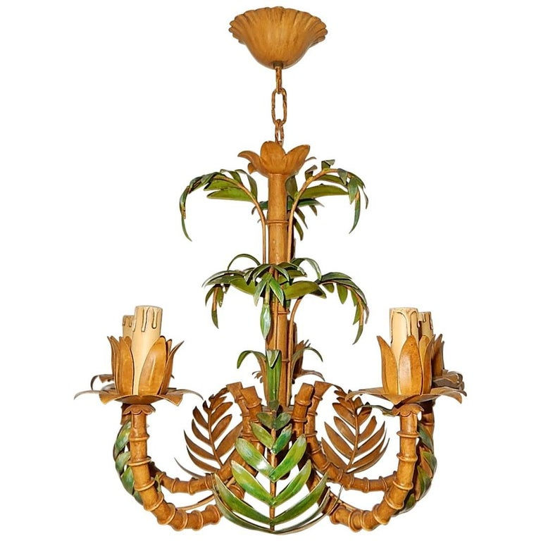1950 French Tole Palm Tree Five-Light Chandelier