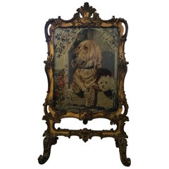 Huge Regency Period Giltwood Tapestry Fire Screen