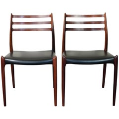 1960s Pair of Danish Niels Moller Rosewood Dining Chairs Model 78