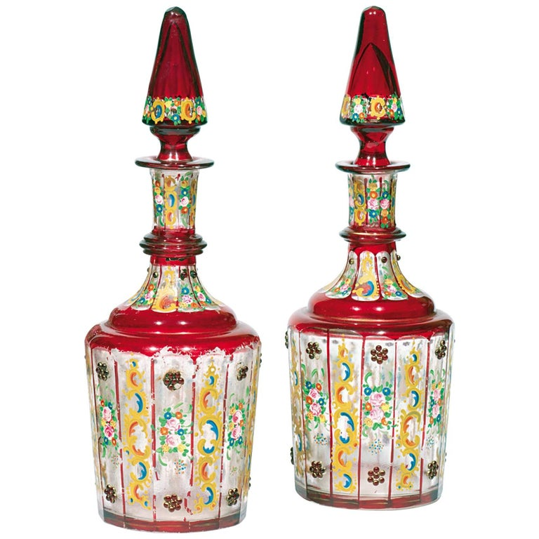 Pair of Antique Bohemian Glass and Enamel Decanters For Sale