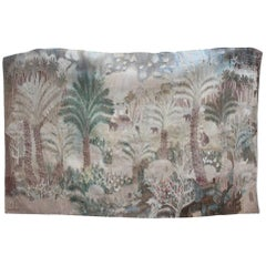 1930s Tapestry with Palm Tree Plantation Scene