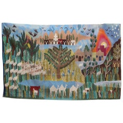 1930s Tapestry with Animal and Plant Scenery