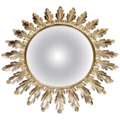 1950s French Gilt Metal Starburst Round Convex Wall Mirror