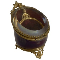 Antique French Red Glass Pocket Watch Box, circa 1890