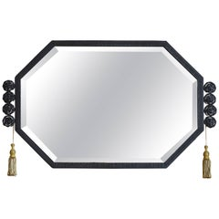Large French Art Deco Wrought-Iron Wall Mirror, Late 1920s