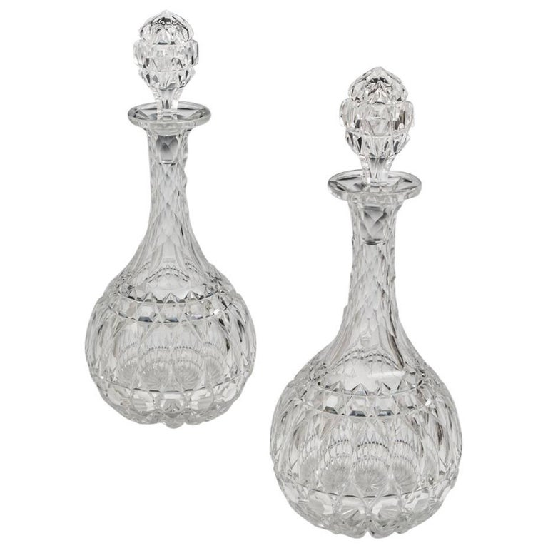 Elaborately Cut Pair of Victorian Decanters