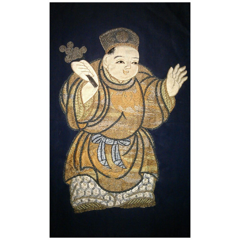 Seven Antique Chinese Qing Dynasty Silk Wall Hangings with Hand-Embroidery