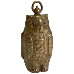 Antique English Figural Sovereign Case, Owl with Glass Eyes
