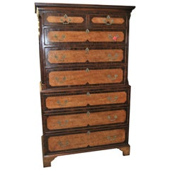 18th Century English Satinwood, Rosewood and Mahogany Chest on Chest