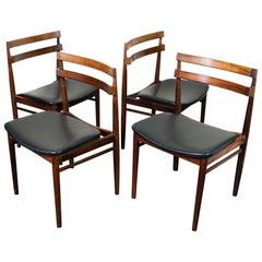 Set of Four 1960s Danish Dining Chairs by Henry Rosengren Hansen for Brande