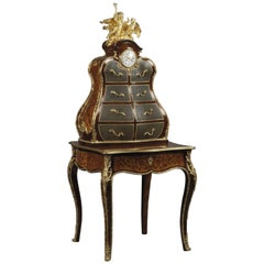 Louis XV Style Gilt-Bronze Marquetry Writing Desk and Cartonnier