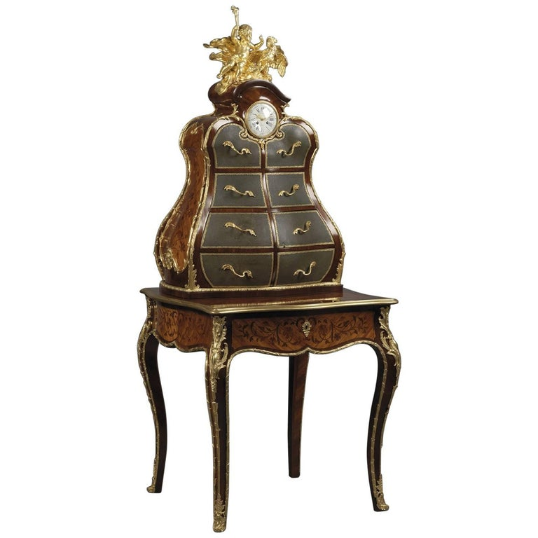 Louis XV Style Gilt-Bronze Kingwood and Marquetry Writing Desk and Cartonnier For Sale