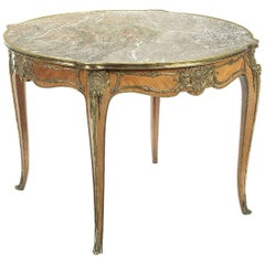 Antique Rococo Style Rosewood, Ormolu and Marble Centre Table
