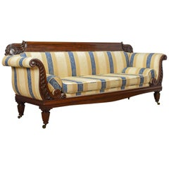 Large Antique Scroll End Settee, Regency Mahogany Sofa Daybed, circa 1820