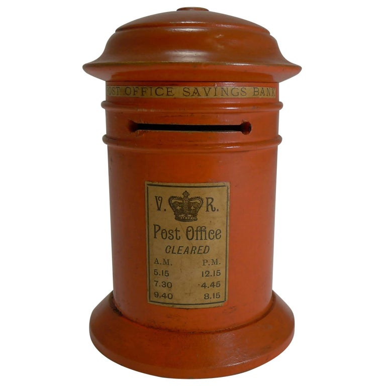 Late Victorian Painted Wood Post Office Savings Bank For Sale