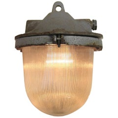 Cast Iron Holophane Glass Vintage Industrial Hanging Lamps (30x)