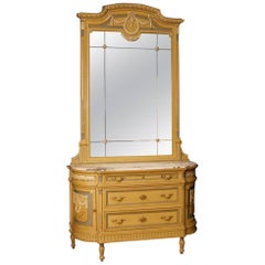 Italian Dresser with Mirror in Lacquered Wood with Marble Top in Louis XVI Style
