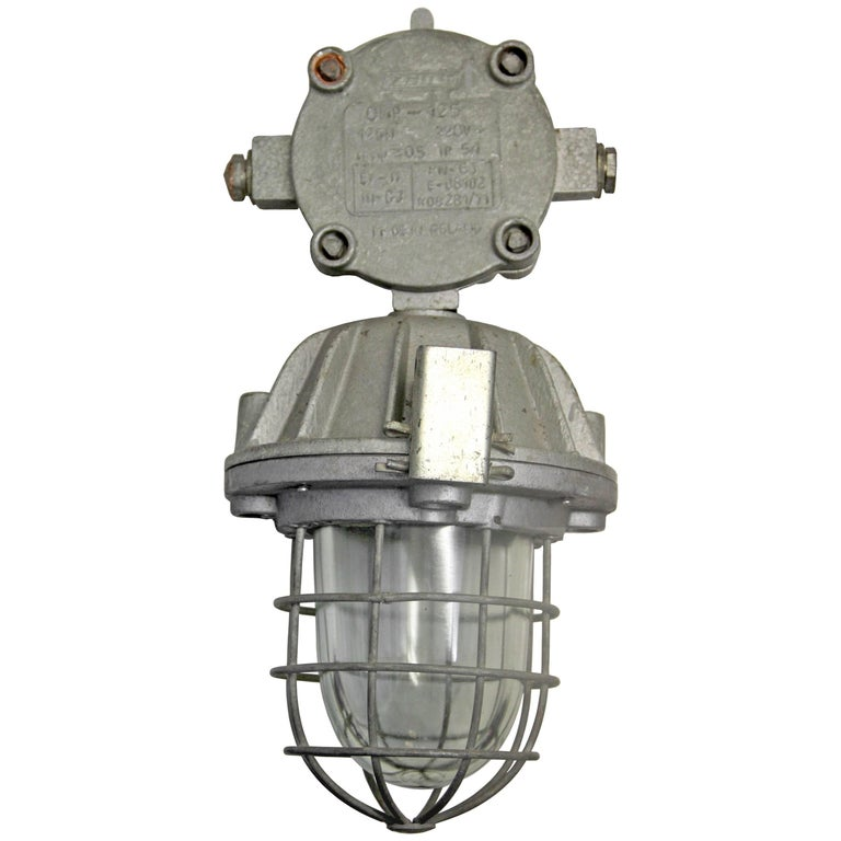 Cast Aluminium Clear Glass Cage Vintage Industrial Hanging Lamps (3x)